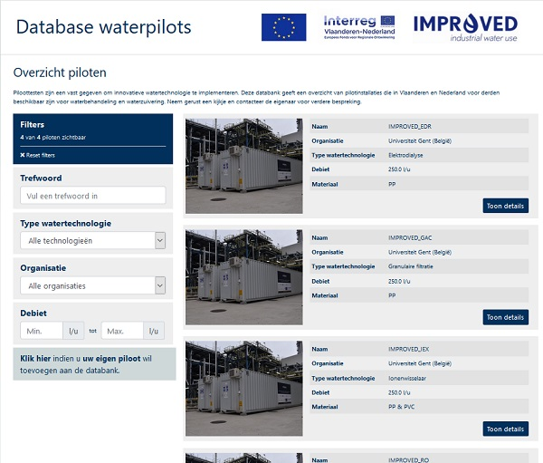 database waterpilots